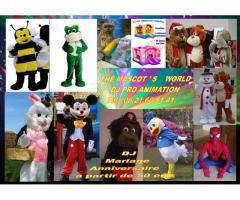 mascottes,anniversaire,mariage,dj,spectacle